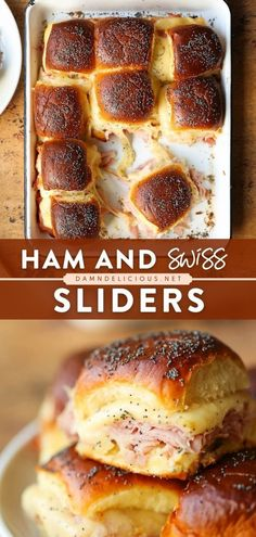 The perfect easy appetizer recipe or snack idea for a crowd! These sliders will disappear fast at any game day or football party. No one will be able to resist all the ham, Swiss cheese, and Dijon baked to perfection in Hawaiian rolls! Best Party Appetizers, Easy Party Food, Easy Appetizer Recipes, Thanksgiving Appetizers, Ham And Swiss Sliders, Funeral Food, Sweet Dinner Rolls, Dinner Sandwiches, Food For A Crowd