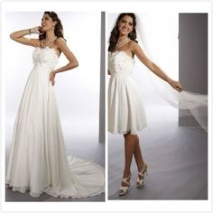 Chiffon Strapless Sheath 2 in 1 Wedding Dress with Convertible Skirt on AliExpress.com. $220.00
