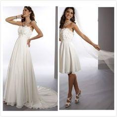 Chiffon Strapless Sheath 2 in 1 Wedding Dress with Convertible Skirt on AliExpress.com. $220.00