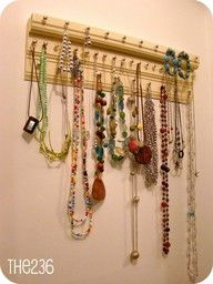 Necklace hanger// gonna get the hubs to make me something like this for my closet.