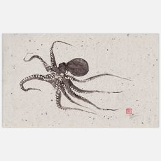 Flying Octopus // gyotaku is a form of printing that uses a real fish to create a print or rubbing / rice paper $99