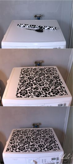 "Use shelf liners to decorate washer/dryer. Plus it keeps them from getting scratched. The top of my bought ""used"" washers are very scratched up, I was thinking of painting but this is a much better idea! Laundry Room Remodel, Laundry Closet, Laundry Room Organization, Laundry Storage, Laundry Room Design, Laundry In Bathroom, Laundry Rooms, Laundry Area, Shelf Liners"