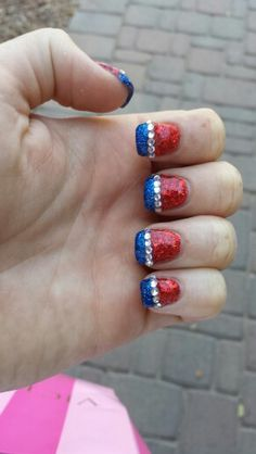 Diy bicycle nail art kit by bicyclecowgirl on etsy only 9 good 4th of july gel nails done by holly dillard patriotic glitter gel solutioingenieria Choice Image