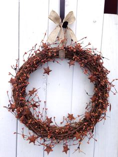 Rustic Wreath- Primitive Wreath- Country Wreath- Orange Wreath- Star Wreath- Shabby Chic- Hand Crafted Wreath on Etsy, $49.00