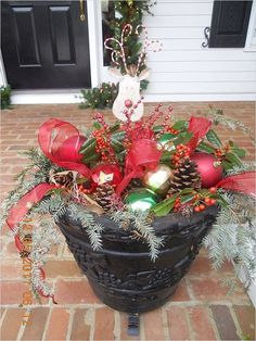 42 Beautiful Christmas Outdoor Pot Decorations Ideas 39 Great Idea for A Winter Outdoor Planter 6 Christmas Light Displays, Holiday Lights, Christmas Lights, Quilted Christmas Ornaments, Christmas Wreaths, Christmas Ideas, Outdoor Christmas Decorations, Holiday Decor, Christmas Centerpieces