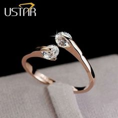 CZ Diamond Jewelry Wedding Rings for women open Rose gold plated Crystal rings female anel bijoux gifts top quality #diamondjewelry #DiamondJewelry
