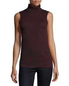 Cotton/Cashmere Sleeveless Turtleneck