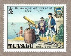 "A modern artist's impression of Captain Cook and astronomer Charles Green observing the 1769 transit of Venus from Tahiti. Although Green is shown looking through the telescope, both Cook and Green observed simultaneously through identical telescopes. The stamp was issued by Tuvalu in 1979 the bicentenary of Cook's death. (photo: Ian Ridpath) Mona Evans, ""Transit of Venus – Captain Cook 1769"" http://www.bellaonline.com/articles/art28591.asp"
