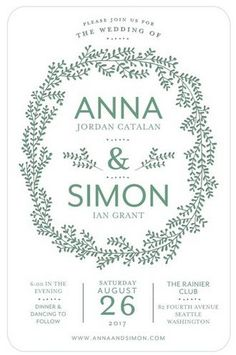 For the nature-loving couple, say hello to joyous foliage in warm amber to bright teals for your wedding invitation.