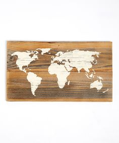Reclaimed Barnwood World Map Wall Art