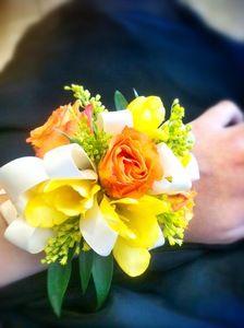 Teleflora Yellow Wrist Corsage Prom | Wrist Corsage Orange Roses & Yellow Freeisa in Phoenix AZ - foothills ...