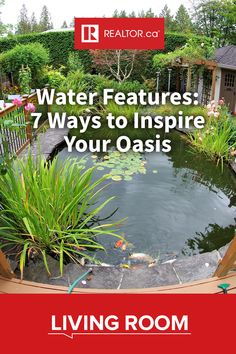 These seven water features will make you want to create your own backyard oasis. Learn more about pondless waterfalls and rain curtains on REALTOR.ca Living Room.  #waterfeatures #designfiles #landscaping #fountain #stream #waterfall #pond #pondlesswaterfall #birdbath #raincurtain