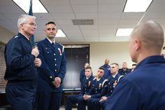 Air Force Gen. Paul J. Selva, vice chairman of the Joint Chiefs of Staff, speaks to members of the U.S. Coast Guard Ceremonial Honor Guard while visiting the men and women of the Telecommunication and Information Systems Command in Alexandria, Va., March 17, 2017. The command is the Coast Guard's single provider of secure and innovative mission critical information systems infrastructure and computing services. DoD photo by Army Sgt. James K. McCann