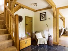 Border Oak Cottage Hallway with oak staircase. Cottage Hallway, Country Hallway, Border Oak, Oak Framed Buildings, Oak Frame House, Self Build Houses, Wooden Staircases, Cottage Interiors, Staircase Design