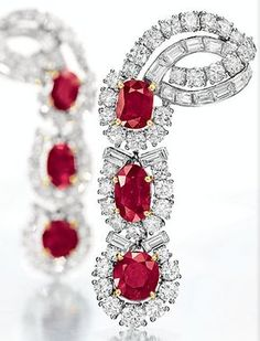 ELIZABETH TAYLOR COLLECTION - A PAIR OF RUBY AND DIAMOND EAR PENDANTS BY CARTIER