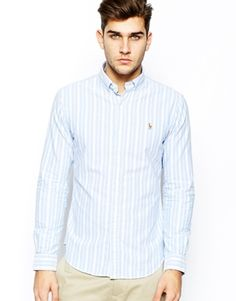 Image 1 of Polo Ralph Lauren Oxford Shirt with Stripe in Slim Fit