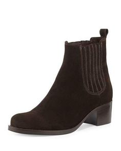 """La Canadienne waterproof suede ankle boot. 1.8"""" stacked block heel. 5.3""""H shaft; 9.5"""" opening. Round toe. Gored side insets. Pull-tab at backstay. Memory foam footbed. Rubber outsole. """"Prince"""" is made in Italy."""