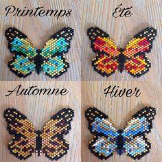 """Voila aujourd'hui j'ai eu envie de changer et j'ai adoré les papillons de @jolispois du coup je me suis permise de les varier en 4 saisons... pour mon usage personnel bien entendu @perlescorner sur la saison d'automne j'ai mis des couleurs que je vous avez pris la dernière fois... et je les adore.!! le reste des couleurs sont de @matiere.premiere ... la seule question que je me pose c'est.: vais je les monter en collier ou en broche... N'oubliez pas le concours pour gagner le collier """"r..."""