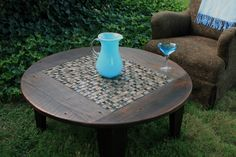 Outdoor Coffee Table : Outdoor Wooden And Tiled Coffee Table. Square Glass Coffee Table, Tiled Coffee Table, Circular Coffee Table, Round Coffee Table, Coffee Table Design, Round Patio Table, Outdoor Side Table, Outdoor Coffee Tables, Side Tables