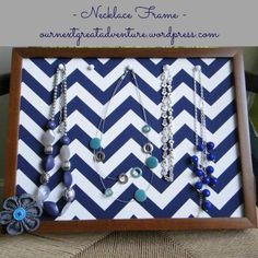 DIY Necklace  : DIY Necklace Organizer Frames: Pinterest Challenge
