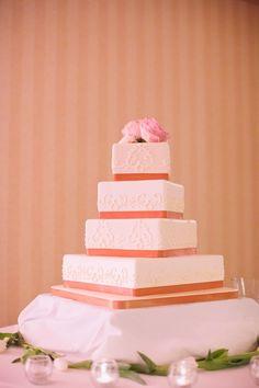 White + Pink Wedding Cake