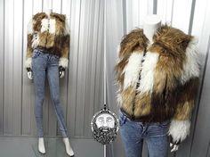 Vintage 90s Goth Shaggy Jacket Faux Fur Fuzzy Coat door ZeusVintage