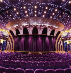 Step into the beautiful Carlo Felice Theatre aboard #MSCPoesia and feast your eyes on plush purple seats and a starry ceiling. #mscmoments.