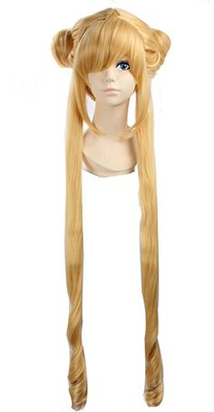 Enilecor Long Lolita Custom Wigs with Double Ponytail Blonde