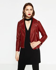 Veste faux cuir femme zara