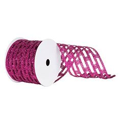Wide Cerise Metallic Rectangle Mesh Wired Christmas and Craft Ribbon 6 x 10 Yards ** Continue to the product at the image link.