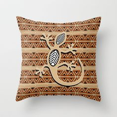 Africa Art Design With Gecko Throw Pillow by Bluedarkat Lem - $20.00