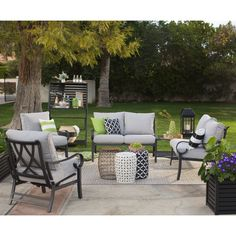 Belham Living Danbury Sectional Sofa Set with Glacier Fire Pit   from hayneedle.com