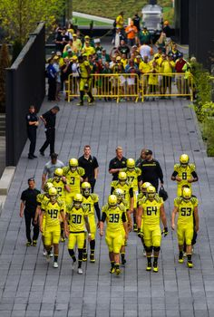 The Oregon Ducks make their way out of the Hatfield-Dowlin Complex. The No. 2 Oregon Ducks play the Tennessee Volunteers at Autzen Stadium in Eugene, Ore. on Sept. 14, 2013. (Ryan Kang/Emerald)