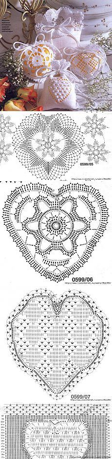Кружевные сумочки-мешочки. Crochet Diagram, Crochet Motif, Crochet Patterns, Crochet Dollies, Crochet Flowers, Crochet Hearts, Thread Crochet, Crochet Stitches, Sewing Art