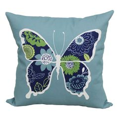 Shop Garden Treasures Blue Multi UV Protected Square Outdoor Decorative  Pillow At Lowes.com