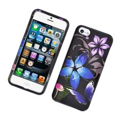 Insten / Purple Flower and Butterfly Glossy 2D Image Protector Case Cover for Apple iPhone 5/ 5c/ 5s/ SE #2316713