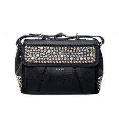 PINKO - Tirteo boston bag studs details in eco-leather black  - Elsa-boutique.it