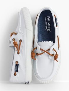 Talbots: Sperry(R) Boat Shoes : Washed White Boat Boots, White Boat Shoes, Boat Shoes Outfit, Vans Shoes, Sperry Shoes For Women, Sailing Shoes, Boat Accessories, Boating Outfit, Sneakers