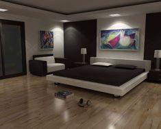 peinture blanche, sol en parquet massif, lit design et tableau abstrait multicolore