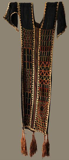 Africa | Ceremonial man's dance robe | Wodaabe people of Agadez, Niger | ca. 1900 | Dark indigo background embroided all over with applique and embroided multicoloured geometric motifs