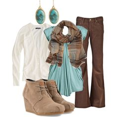 Brown pants teal shirt cream cardigan outfit