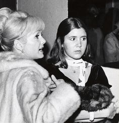 Debbie Reynolds and Carrie Fisher during Debbie Reynolds sighting at the Town Hall, New York City for the School Benefit at Town Hall - November 6, 1972 at Town Hall, New York City in New York City, New York, United States. (Photo by Ron Galella/WireImage) via @AOL_Lifestyle Read more: http://www.aol.com/article/entertainment/2016/12/23/carrie-fisher-suffers-massive-heart-attack-on-flight-from-london/21641240/?a_dgi=aolshare_pinterest#fullscreen
