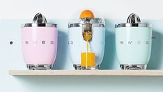 Wake up to freshly squeezed juice using our citrus juicer, it's curved, compact and bursting with Smeg's 50's retro style! Smeg, Citrus Juicer, Small Appliances, Kitchenware, Water Bottle, Kitchen Inspiration, Kitchen Ideas, Retro Style, Tiny House