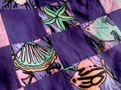 Quilted Tote Bag Tropical Purple Patchwork by KoloaQuiltsandMore, $42.00 An August Shop Hop Entry!!  Cool fish :-)