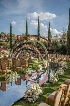 Wedding Entrance, Wedding Mandap, Wedding Venue Decorations, Entrance Decor, Wedding Stage, Flower Decorations, Wedding Events, Mehendi Decor Ideas, Geometric Sculpture