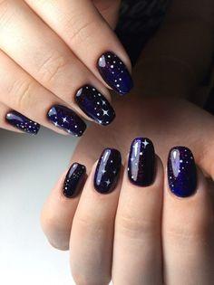 Creative Blue Nail Art Designs for Night Parties nail designs Cute Nail Art, Easy Nail Art, Cute Nails, New Year's Nails, Hair And Nails, Gel Nails, Coffin Nails, Acrylic Nails, Nail Polish