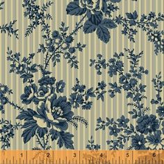 """First Ladies - Nancy Gere - Windham Fabrics 36229 1 Navy Floral Stripe 100% Cotton 44-45"""" wide 1800's Reproduction Fabric"""