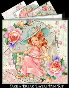"Take a Break Mini Kit  on Craftsuprint designed by Sue Way - A beautiful mini kit to make an 8"" square card. A pretty lady relaxing in the garden reading a book. She is surrounded by pretty roses. A striking card that any lady would love to receive. Kit includes 3 design sheets. The card front, a sheet of pyramid layers to add, if you want to give your card depth"