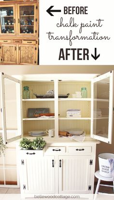 Chalk Paint Transformation: How I used chalk paint and stain-blocking primer to transform a hutch made from knotty pine into a piece with plenty of cottage charm and farmhouse style