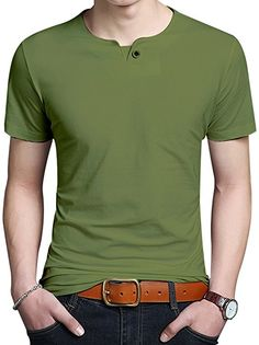 JNC 100% Cotton Mens Summer Casual Button Slim Fit Pure Color Short Sleeve Henley T-Shirts (Small, Army Green) at Amazon Men's Clothing store: Best Mens T Shirts, Mens Polo T Shirts, Mens Tees, Casual T Shirts, Men Casual, Polo Shirt Outfits, Tee Shirt Designs, Herren T Shirt, Summer Shirts